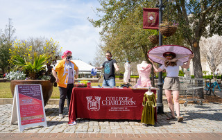Department of Theater and Dance members discuss different aspects of costume design with students at Rivers Green, College of Charleston.