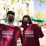 Students score CofC swag at a Maroon Monday event on Rivers Green, College of Charleston.