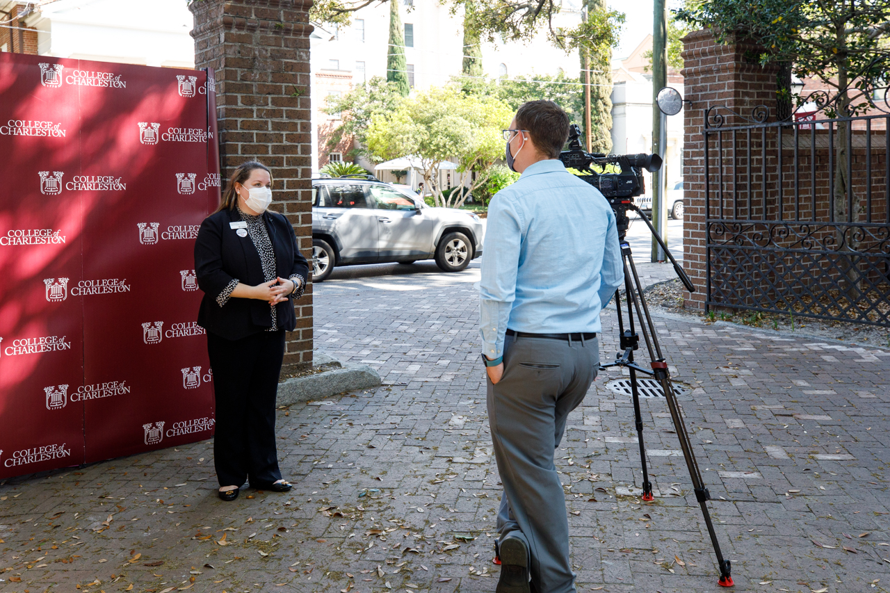 Penny Lee, Manager-Ambulatory services in Student Health Services, talks to the news about CoFC and MUSC partnering to give out COVID vaccine's to students, staff and faculty.