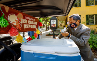 President Hsu's Ice Cream Truck visits students during finals.
