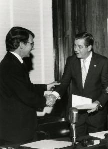 former cofc president Edward Collins with former charleston mayor Joe Riley
