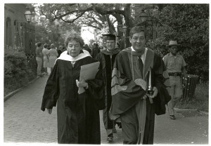 former cofc president edward collins at a commencement ceremony