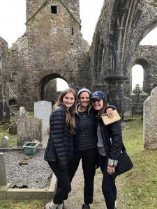 three women in a cemetery in Ireland