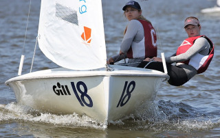 Women's Sailing team members in a boat