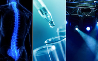 a spinal cord, water and test tube, theater lights