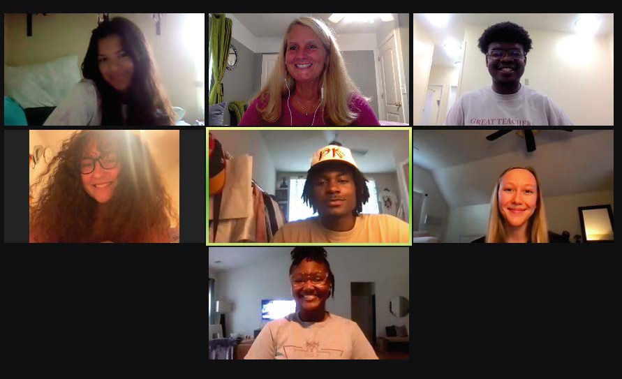 teacher education professor tracey hunter-doniger meets over zoom with student researchers