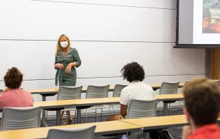 Instructor Devon Hanahan Wears Mask in classroom