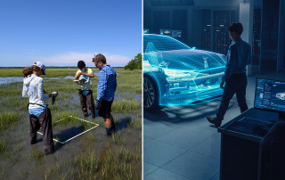 students study the marsh, engineers look at a hologram of a car