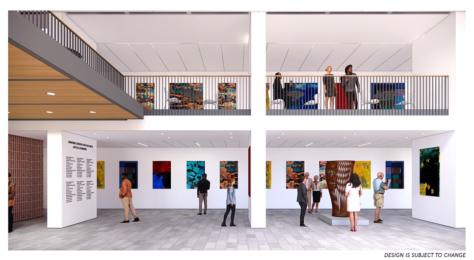 rendering of the renovated simons center lobby
