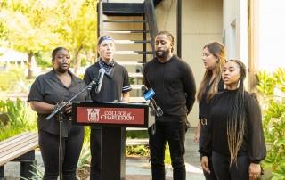 Solar Pavilion dedication ceremony on the College of Charleston campus.